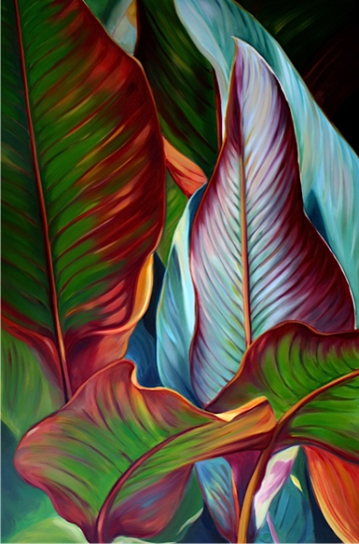 red banana leaves