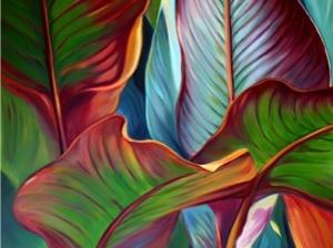 red banana leaves